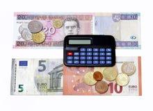 los billetes de banco euro 2015 de las monedas de Lituania del intercambio del cambio de Lits de los litas enero calculan Imagen de archivo libre de regalías