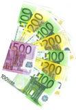 Los billetes de banco euro más importantes Foto de archivo libre de regalías