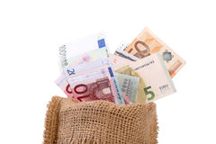 Los billetes de banco euro se cierran para arriba, moneda europea Fotos de archivo
