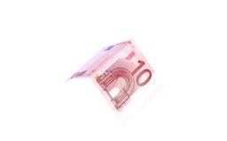 Los billetes de banco euro se cierran para arriba, moneda europea Foto de archivo