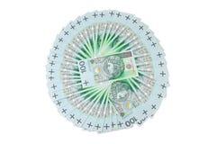 Los billetes de banco polacos del zloty arreglaron en un círculo Imagen de archivo libre de regalías