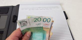 Los billetes de banco servios de los dynars en hembra entregan el cuaderno abierto imagenes de archivo