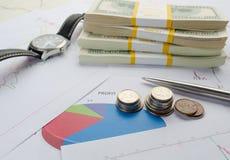 Los billetes de dólar en los paquetes, monedas registran la calculadora y gráficos Imagen de archivo
