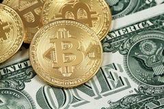 Los bitcoins físicos se cierran para arriba con los billetes de dólar del americano uno Fotos de archivo libres de regalías