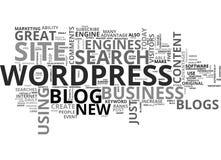 Los blogs de Wordpress hacen una gran nube de la palabra del sitio del negocio ilustración del vector