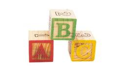 Los bloques ABC de las letras aislaron Imágenes de archivo libres de regalías