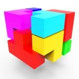 Los bloques de la sinergia representan a Team Work And Connect Foto de archivo libre de regalías