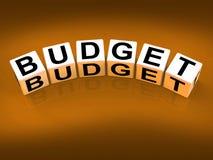 Los bloques del presupuesto muestran la planificación financiera y Fotografía de archivo libre de regalías