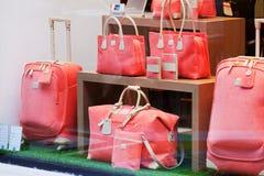Los bolsos de las mujeres magníficas en una demostración-ventana de la tienda Fotos de archivo libres de regalías