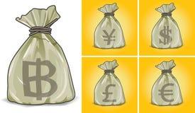 Los bolsos imprimieron monedas Foto de archivo libre de regalías