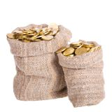 Los bolsos llenaron de las monedas. Foto de archivo libre de regalías