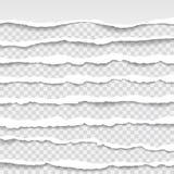 Los bordes de papel rasgados, inconsútiles texturizan horizontalmente, vector aislados en el espacio para hacer publicidad, bande Imágenes de archivo libres de regalías