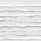 Los bordes de papel rasgados, inconsútiles texturizan horizontalmente, vector aislados en el espacio para hacer publicidad, bande Imagen de archivo libre de regalías