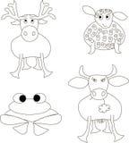 Los bosquejos de la mano de animales: alces, ovejas, rana, vaca Líneas negras en blanco Foto de archivo libre de regalías