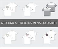 Los bosquejos técnicos fijados del ` s de los hombres ponen en cortocircuito la manga Polo Shirts stock de ilustración