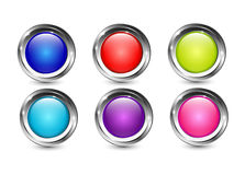 Los botones brillantes del multicolor con cromo metálico brillan el marco stock de ilustración