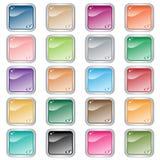Los botones cuadrados del Web fijaron de 20 en colores clasificados Imagenes de archivo
