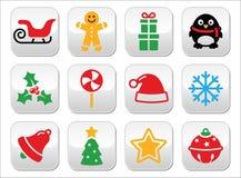 Los botones de la Navidad fijaron - Papá Noel, árbol de Navidad, presente Foto de archivo