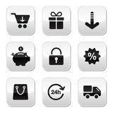 Los botones de las compras para el Web site/en línea salvan Imágenes de archivo libres de regalías