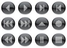Los botones de los multimedia fijaron. Foto de archivo libre de regalías