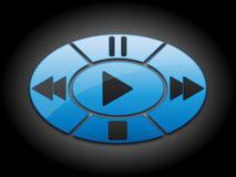 Los botones de los multimedia fijaron en el anillo Fotografía de archivo