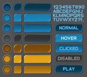 Los botones del interfaz fijaron para los juegos o los apps del espacio Fotografía de archivo libre de regalías