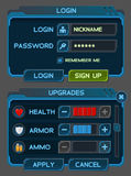 Los botones del interfaz fijaron para los juegos o los apps del espacio Imagen de archivo libre de regalías