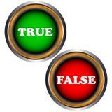 Los botones verdad y falso Foto de archivo libre de regalías