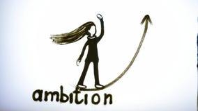 Los brazos del hombre dibujan a la muchacha y redactan la ambición con la arena de la ayuda en la pantalla