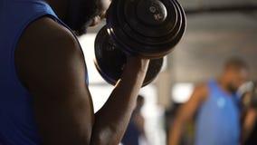 Los brazos musculares del atleta que hacen pesa de gimnasia se encrespan, hombre que construye el bíceps fuerte en gimnasio metrajes