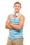 Los brazos sonrientes hermosos del hombre joven doblaron aislado en el backgro blanco Foto de archivo libre de regalías