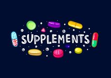 Los bunte Pillen und Kapseln Diätetische Ergänzungen Gesunder Lebensstil r gekritzel vektor abbildung