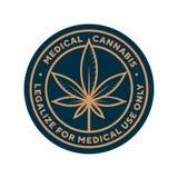 Los cáñamos médicos legalizan para el logotipo del uso médico solamente, vector de la plantilla de la etiqueta libre illustration