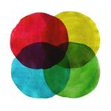 Los círculos abstractos de la acuarela pintaron el fondo Imagen de archivo libre de regalías