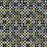 Los círculos coloreados y los cuadrados en un modelo inconsútil del fondo negro vector el ejemplo Foto de archivo