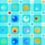 Los círculos coloreados y los polígonos en un fondo azul apacible vector el ejemplo stock de ilustración