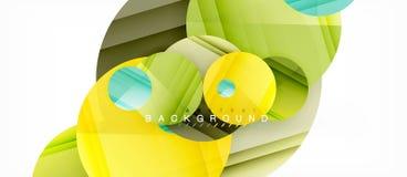 Los círculos coloridos brillantes resumen el fondo, diseño geométrico moderno stock de ilustración