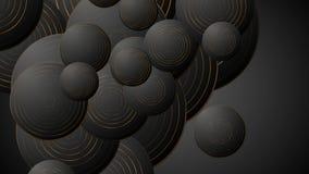 Los círculos de bronce negros resumen la animación video corporativa ilustración del vector