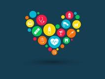Los círculos de color con los iconos planos en un corazón forman: medicina, médica, estrategia, salud, cruz, conceptos de la aten Imagen de archivo libre de regalías