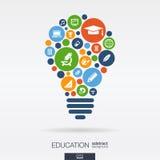 Los círculos de color, los iconos planos en un bulbo forman: educación, escuela, ciencia, conocimiento, conceptos del elearning a