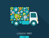 Los círculos de color, los iconos planos en un camión forman para la distribución, entrega, servicio, envío, logístico, transport libre illustration