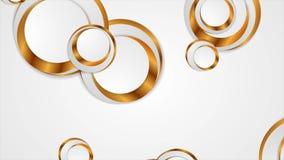 Los círculos de oro grises resumen la animación video corporativa