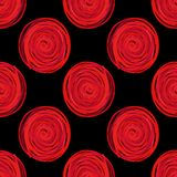 los círculos digitales tuercen en espiral modelo inconsútil rojo en fondo negro libre illustration