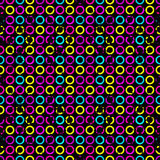 Los círculos psicodélicos en un grunge negro del fondo efectúan el fondo geométrico inconsútil Fotografía de archivo