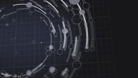 Los círculos y las líneas abstractos giran la animación geométrica de la forma stock de ilustración