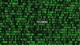 Los códigos secretos en la pantalla con la selección de la contraseña concepto de seguridad cibern?tica almacen de video