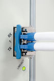 Los cables ópticos de fibra conectaron con accesos ópticos Fotografía de archivo