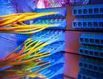 Los cables ópticos de fibra conectaron con accesos ópticos Fotografía de archivo libre de regalías
