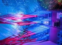Los cables ópticos de fibra conectaron con accesos ópticos Imagen de archivo
