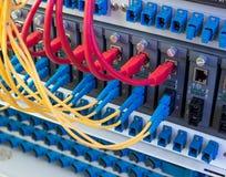 Los cables de fribra óptica y la red de UTP telegrafía puertos conectados del eje Foto de archivo libre de regalías